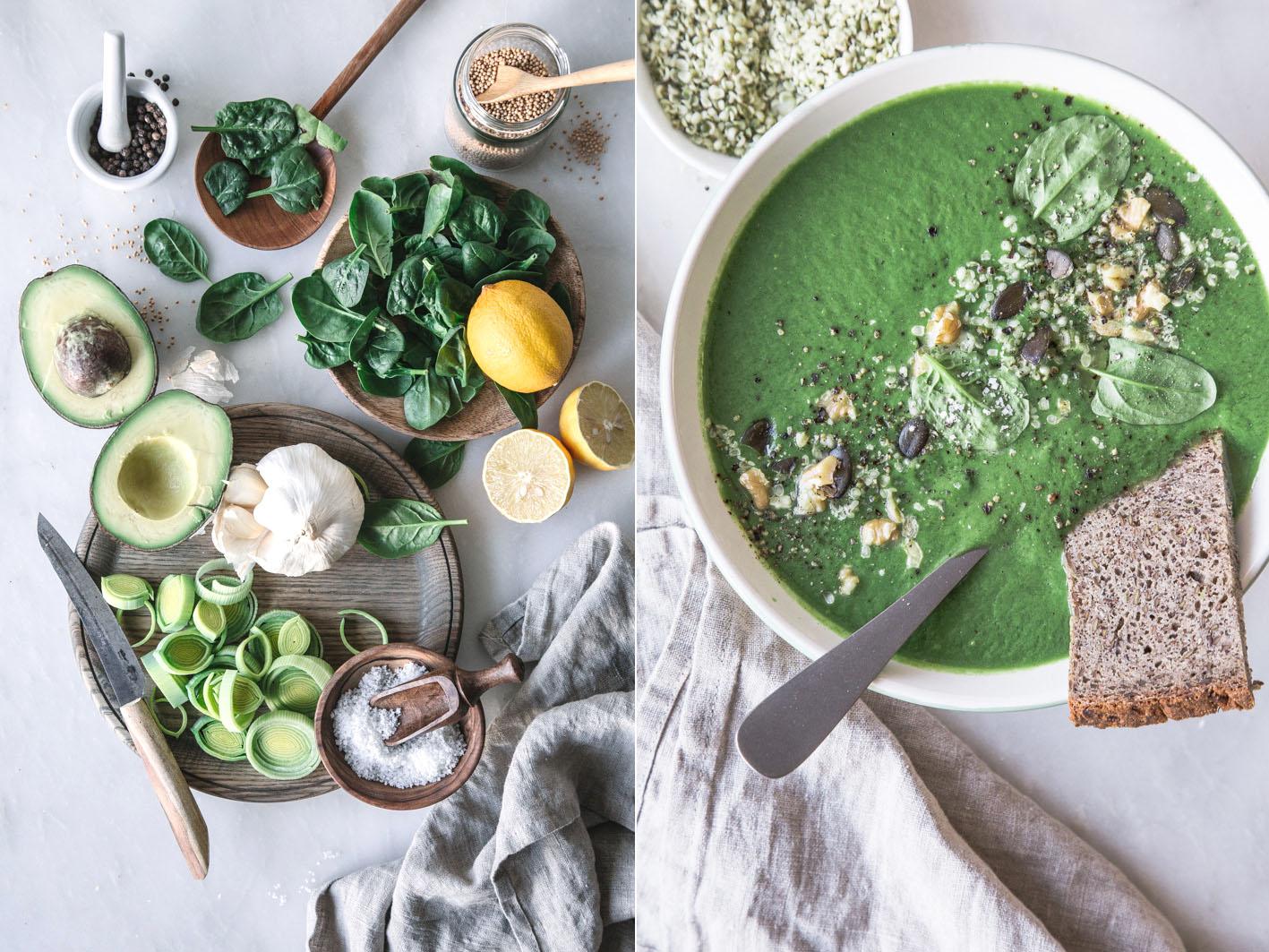 Rezept für cremige Spinatsuppe mit Avocado