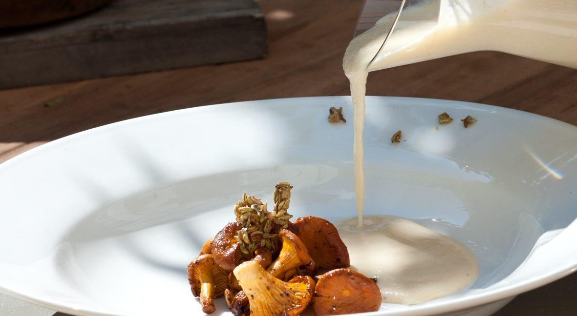 Pastinaken-Aprikosen-Suppe mit Vanilleöl, Pfifferlingen und kandierten Fenchelsamen