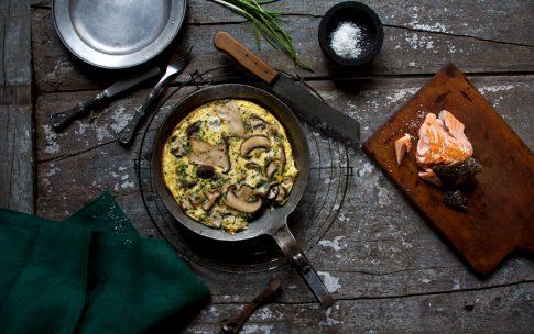 Pilz-Omelette mit Lachs.