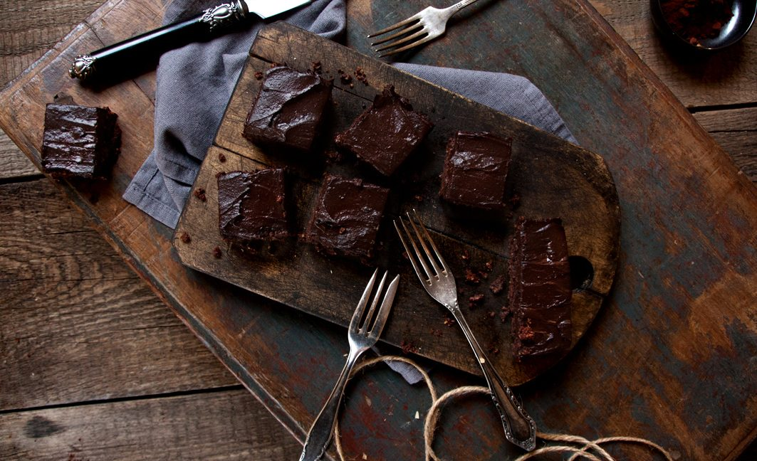 raw brownies with icing