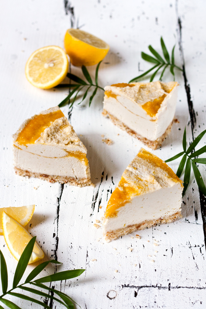 raw coconut mango cheesecake pieces