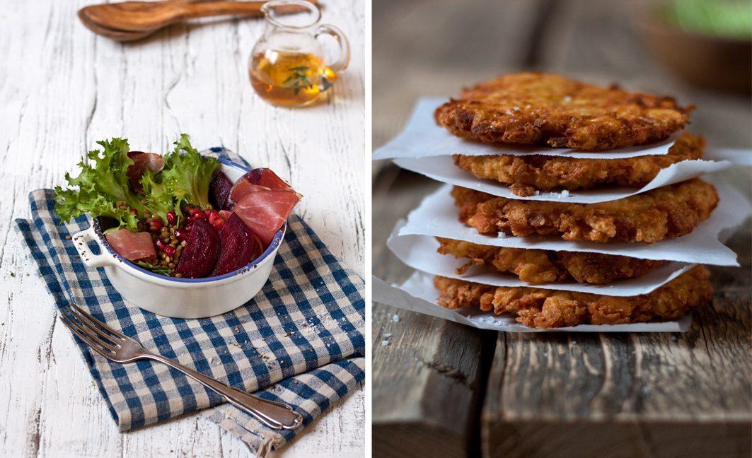 Wintersalat und Pastinakenfritter