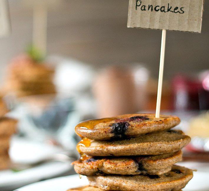 Pancake Party mit drei verschiedenen Pancakes.