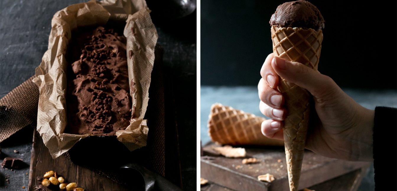 Veganes Schokoladeneis mit kandierten Mandeln