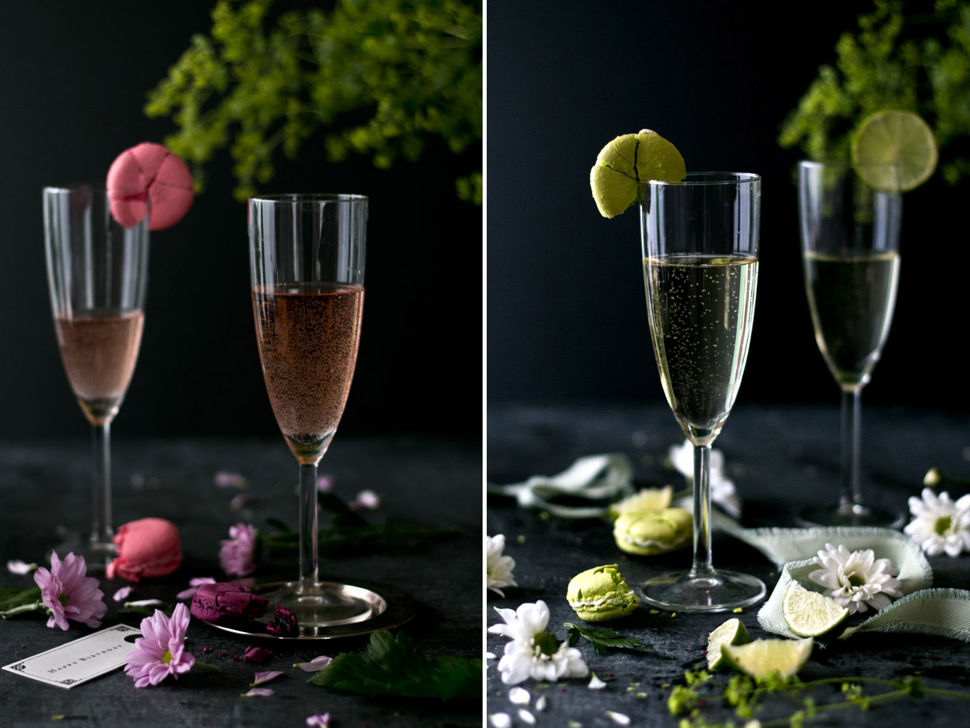 champagner gläser macarons