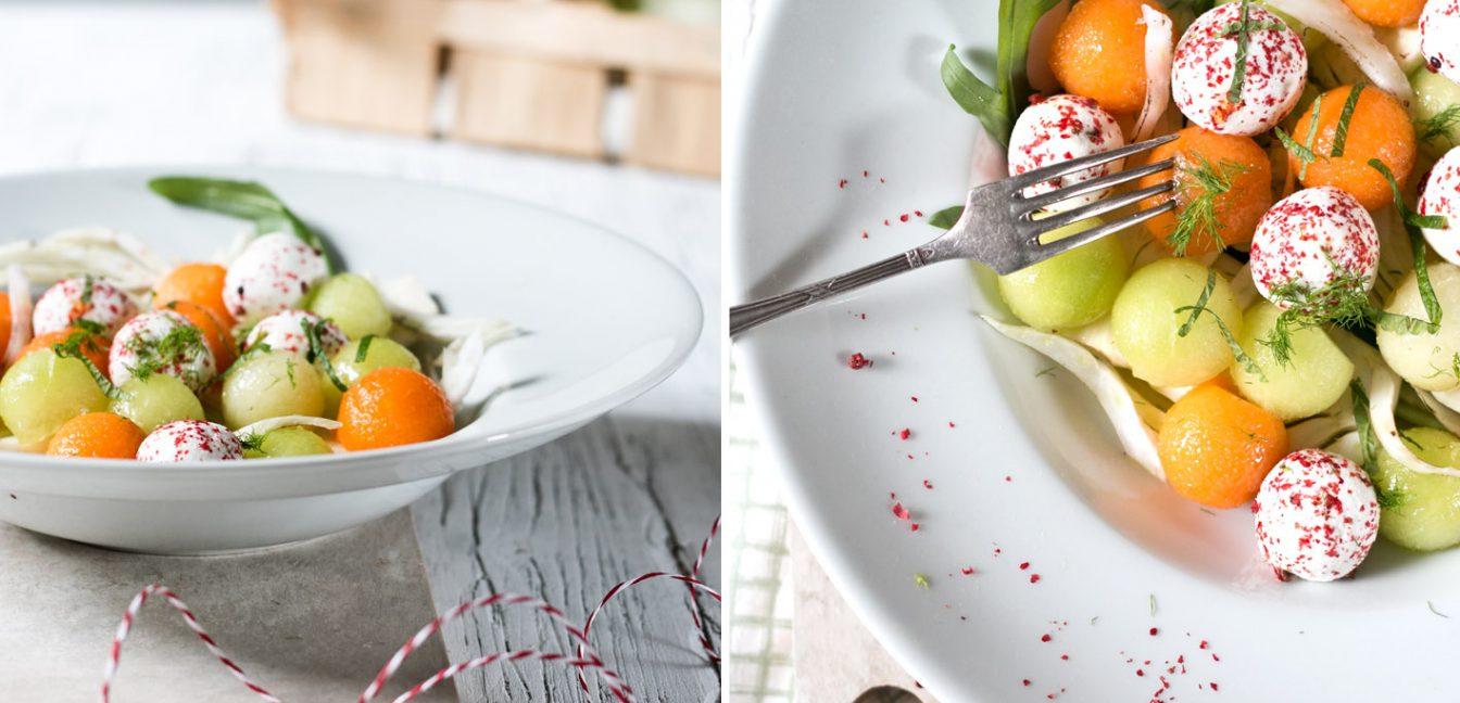 Melonen-Fenchel-Salat mit Ziegenkäse.