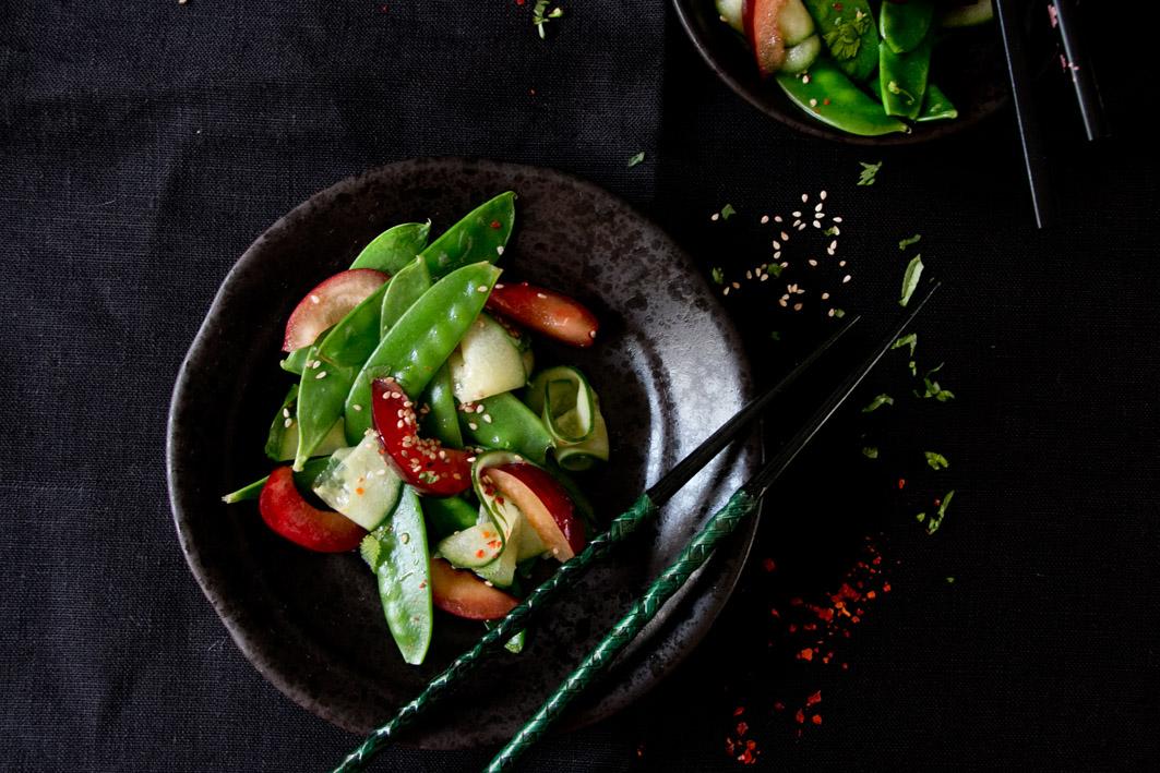 zuckerschotensalat gurke