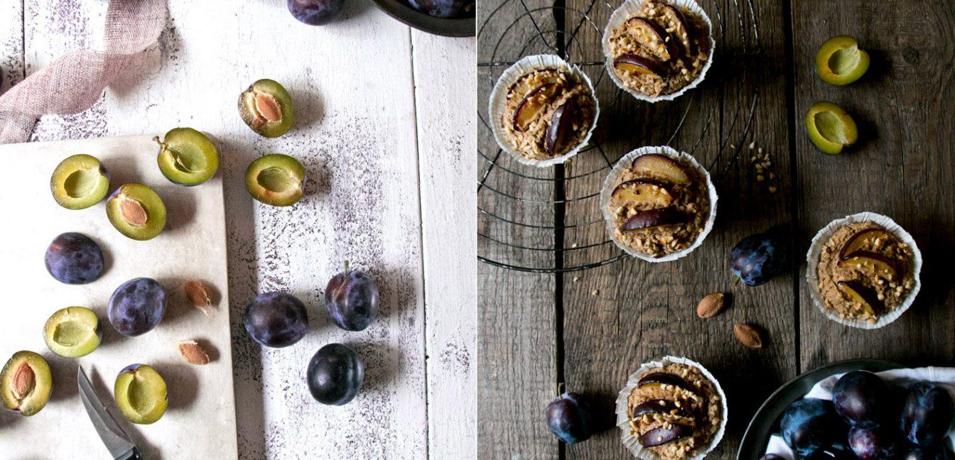 Gesunde Pflaumenmuffins mit Hirse und ohne Zucker!
