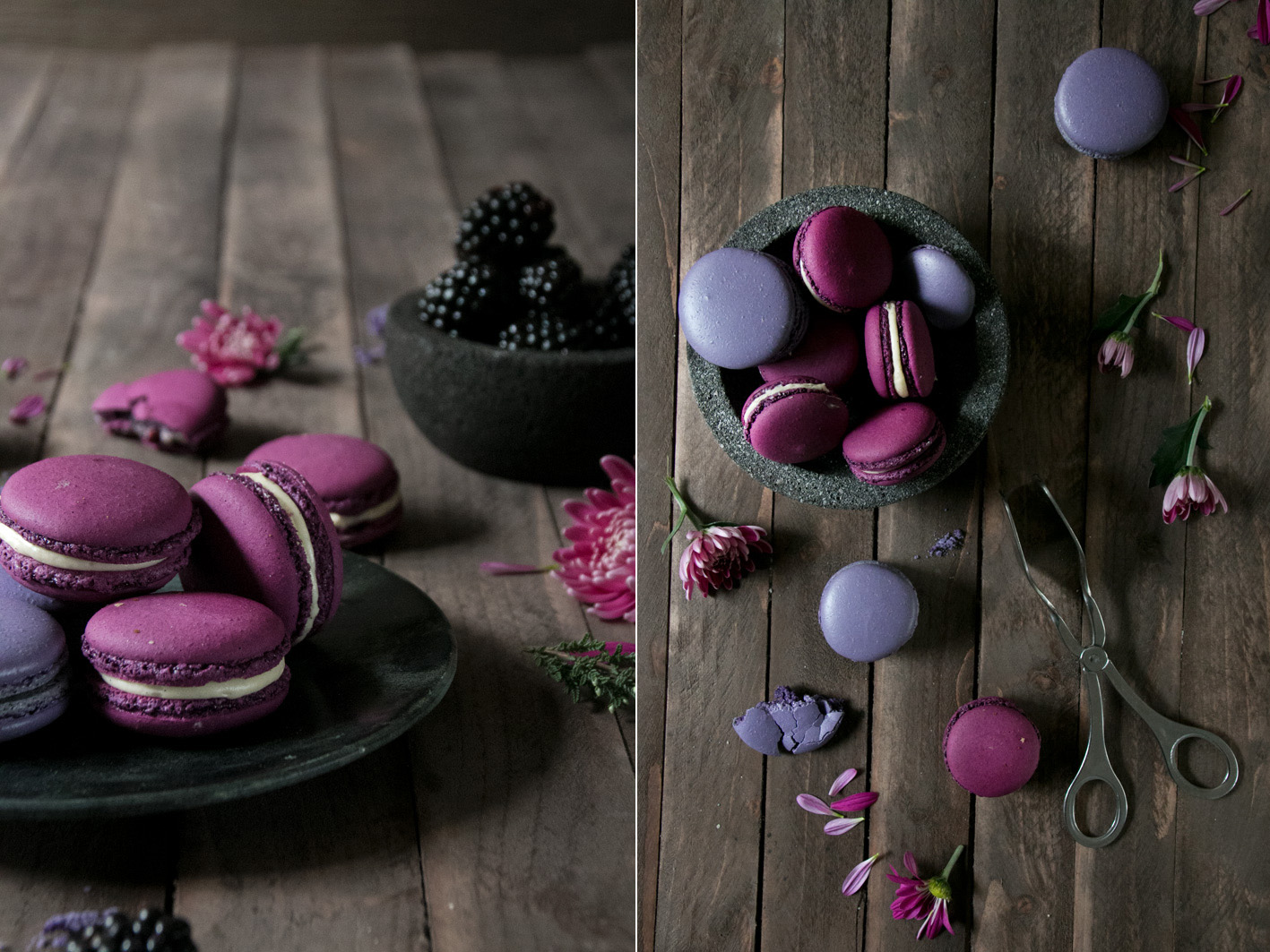 brombeer balsamico macarons