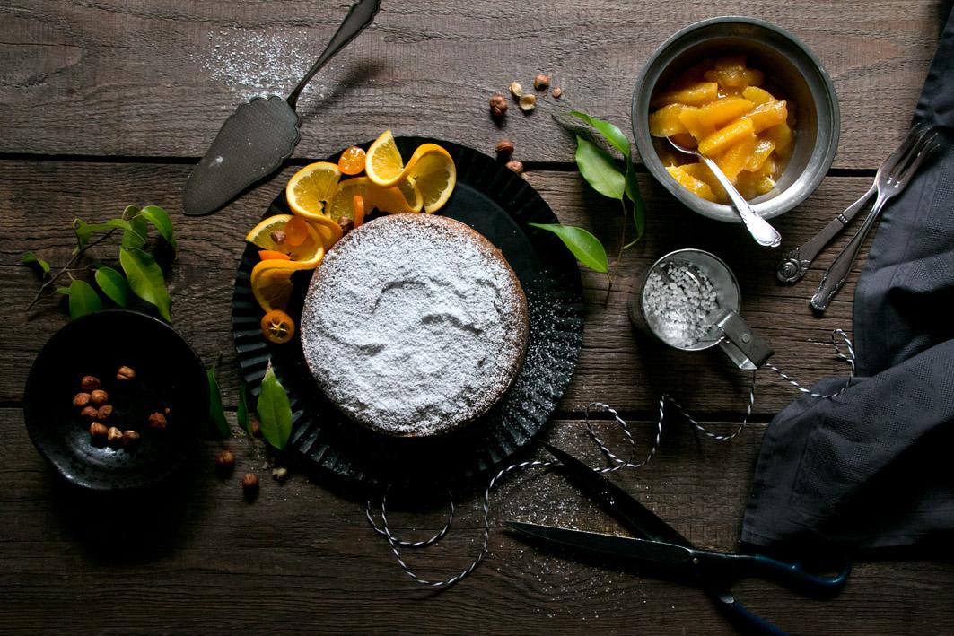 kastanienkuchen orangenragout