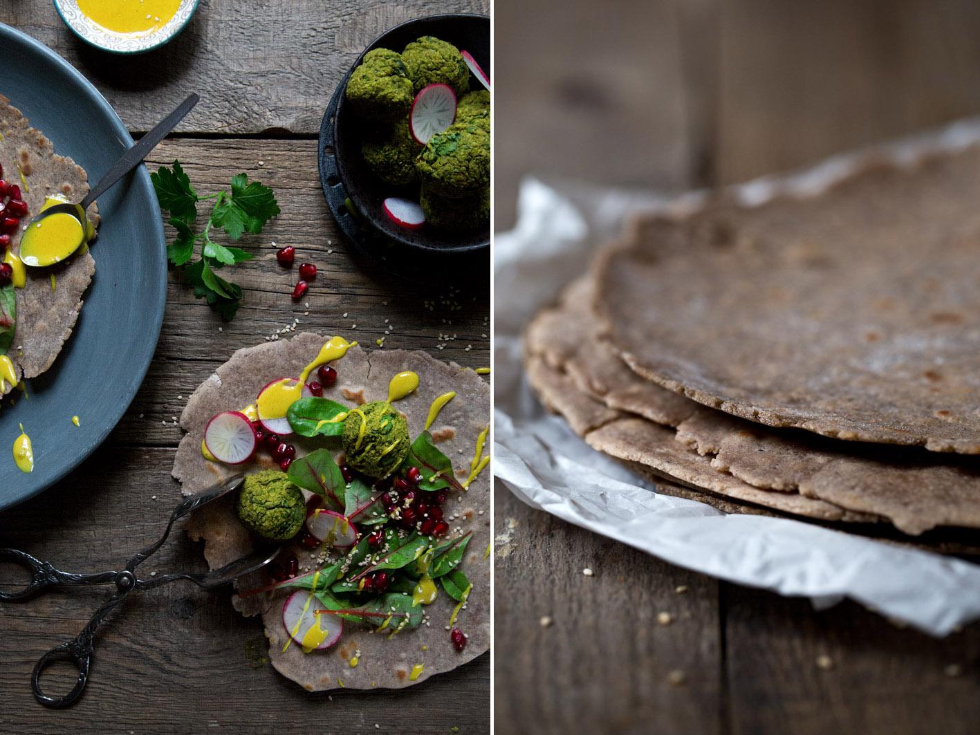 buchweizen wraps mit safran dip und falafel