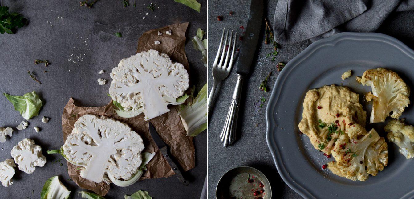 Gebratene Blumenkohlsteaks mit cremigem Hummus.
