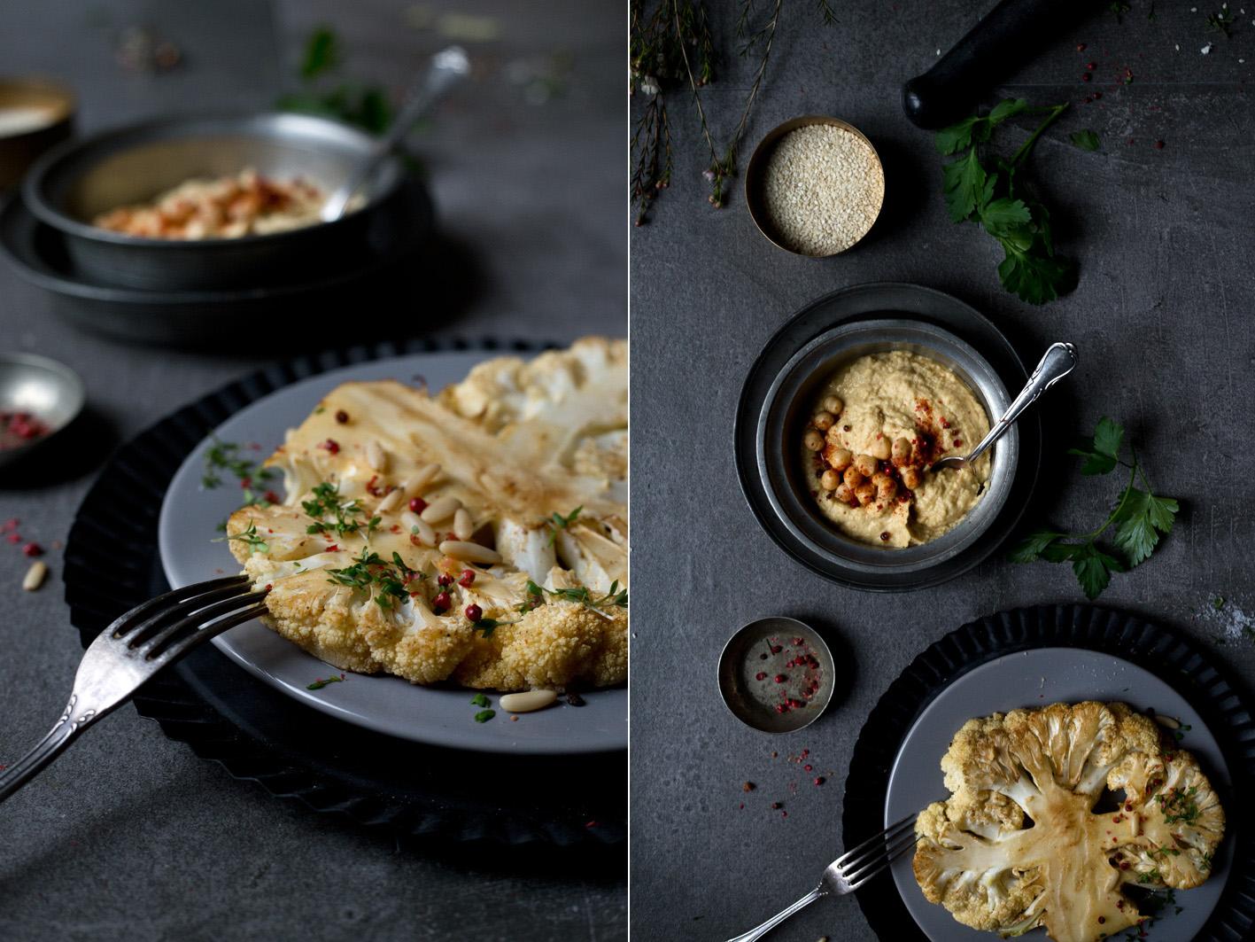gebratener Blumenkohl mit hummus