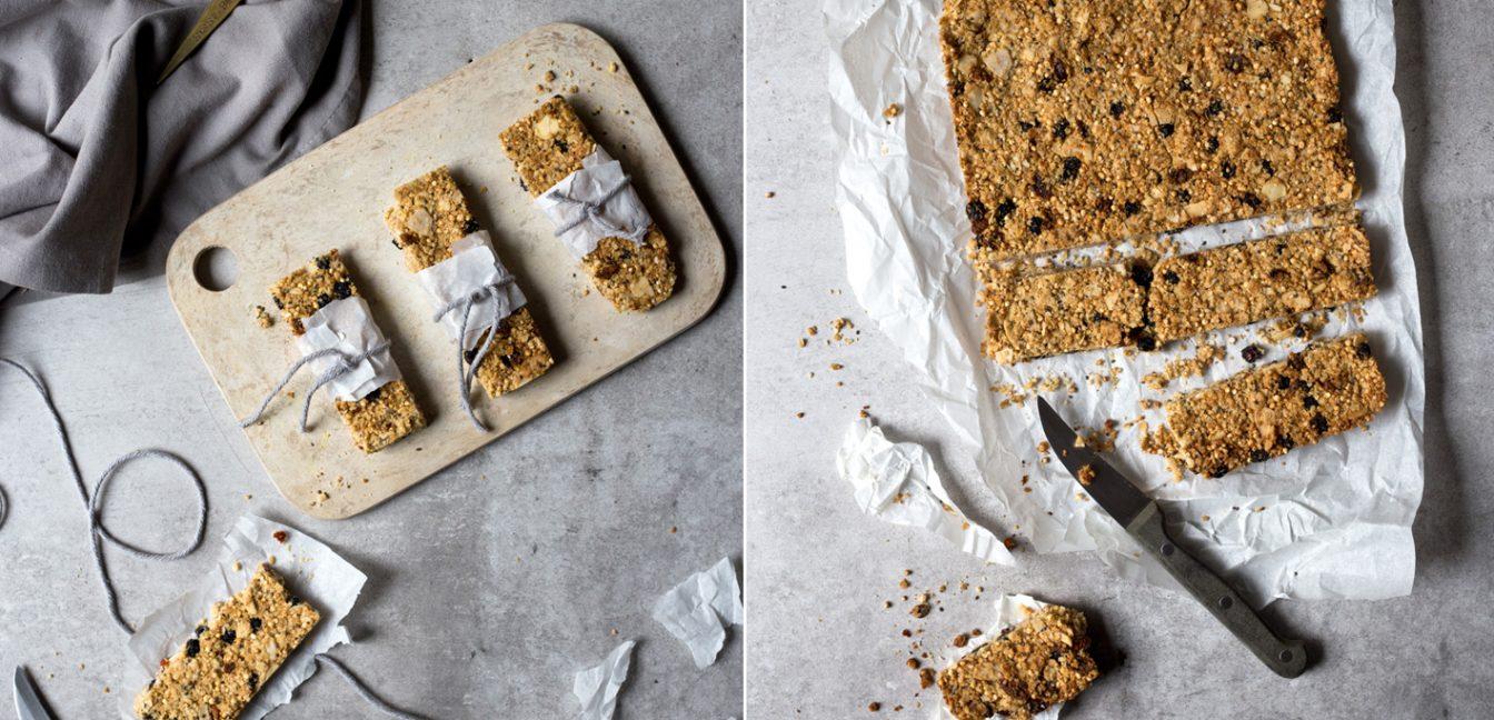 Selbst gemachte Müsliriegel mit Superfoods.