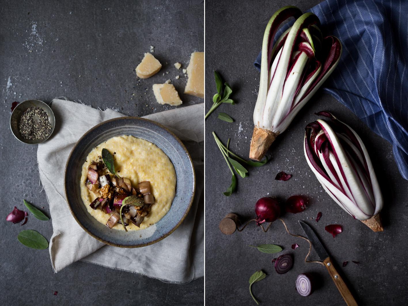 polenta mit gebratenem radicchio