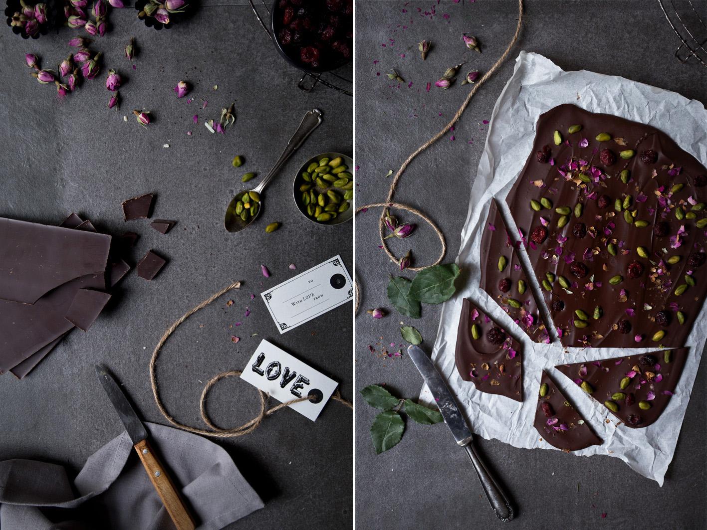 schokolade mit Pistazien und cranberries