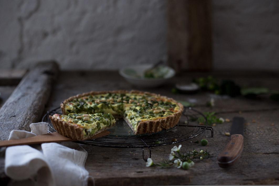 quiche mit erbsen und spinat