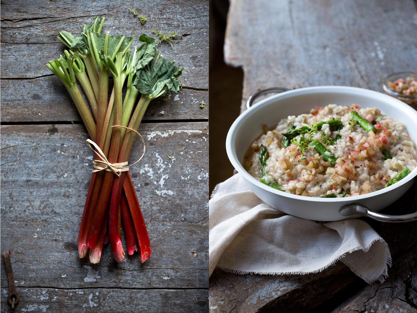 rhabarber risotto mit spargel