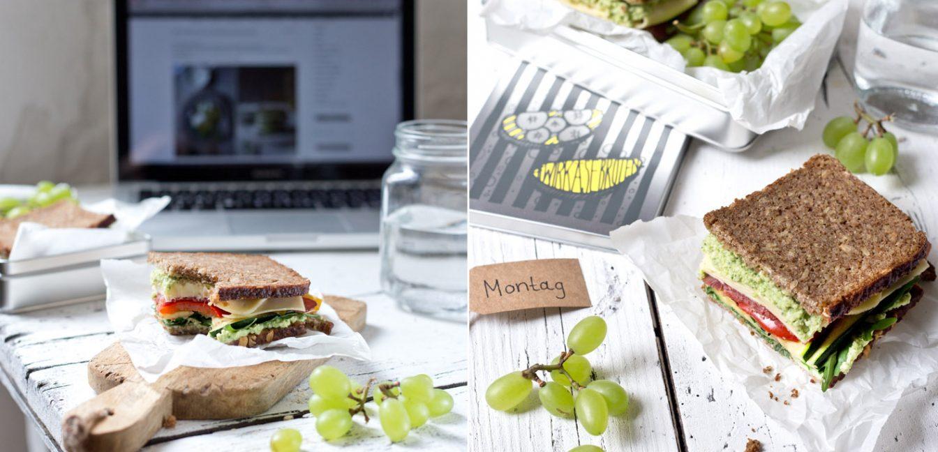 Gesund und lecker essen im Büro: Mediterranes Käsebrot.