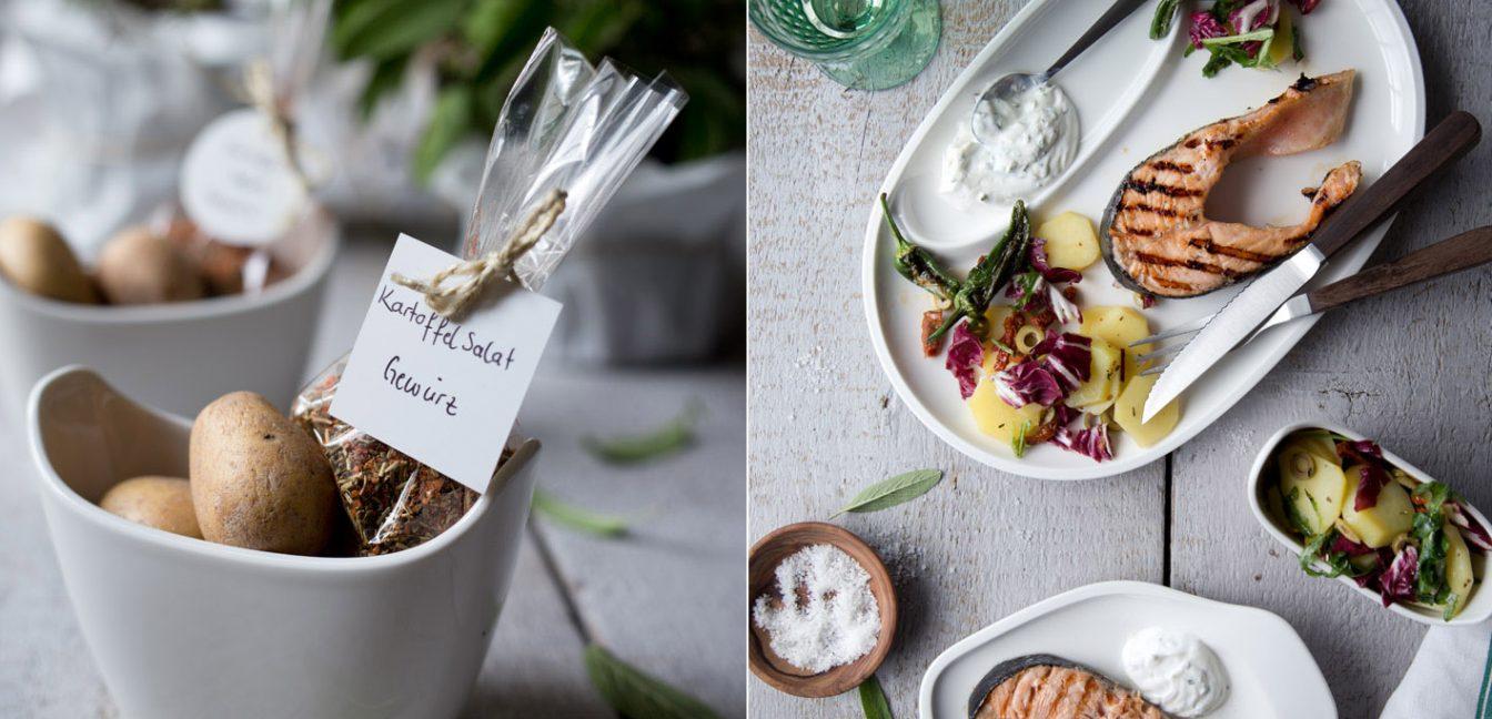 Gegrillter Lachs und eine Gewürzmischung für Kartoffelsalat.