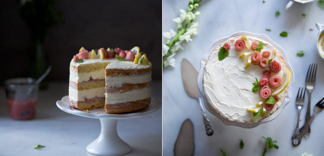 naked cake mit rhabarber