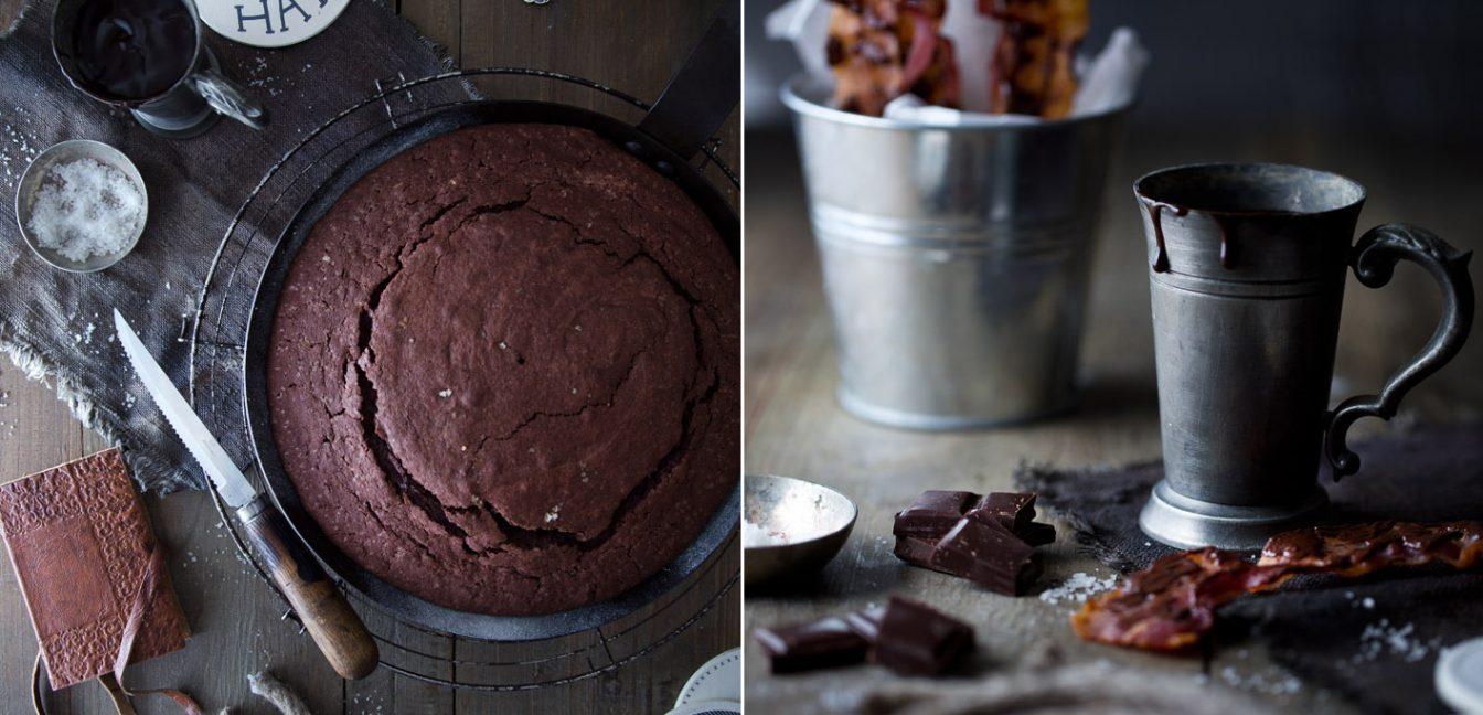 Schokoladenkuchen mit Bier und Bacon aus der Pfanne