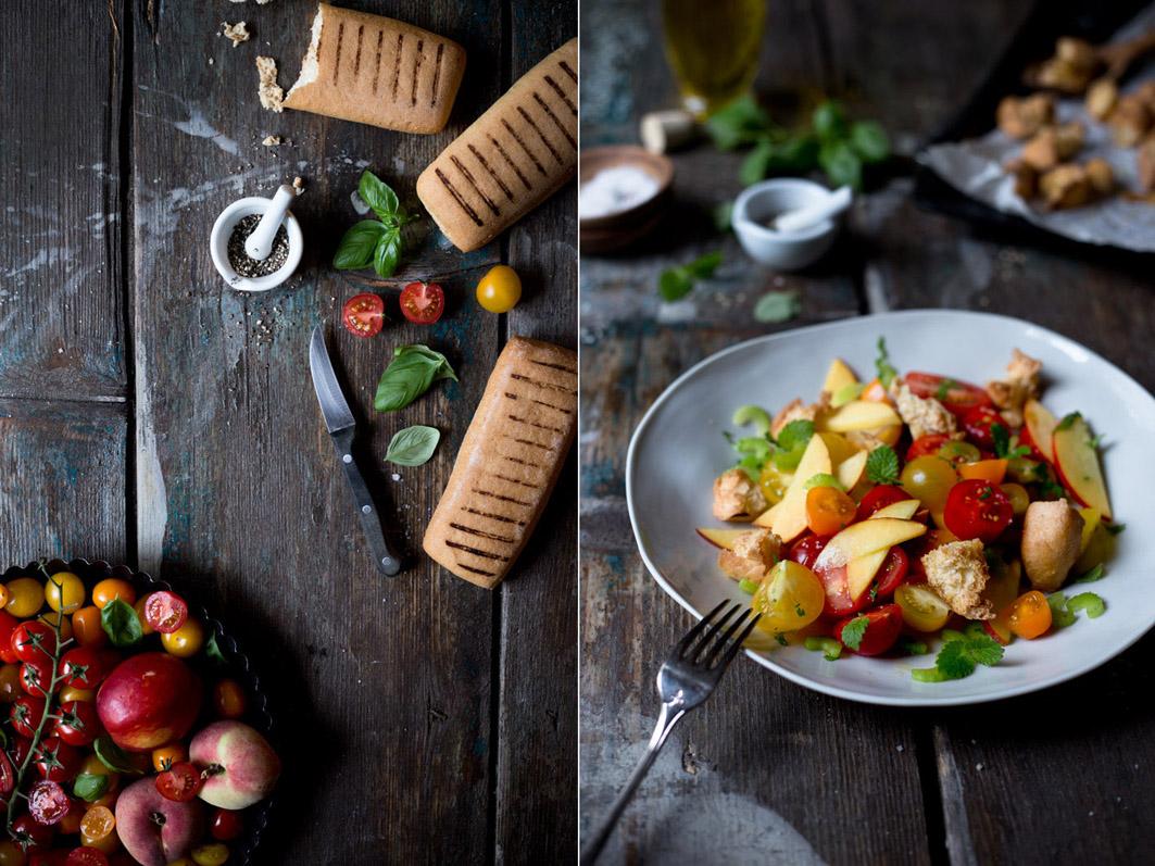 tomatensalat mit pfirsich und basilikum