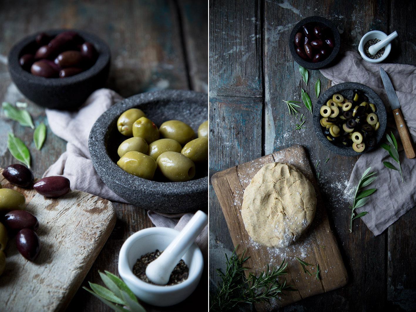 flammkuchen mit gemischten oliven