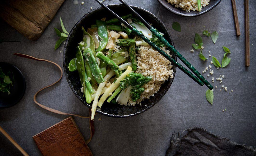 Grünes Curry mit selbst gemachter Currypaste.