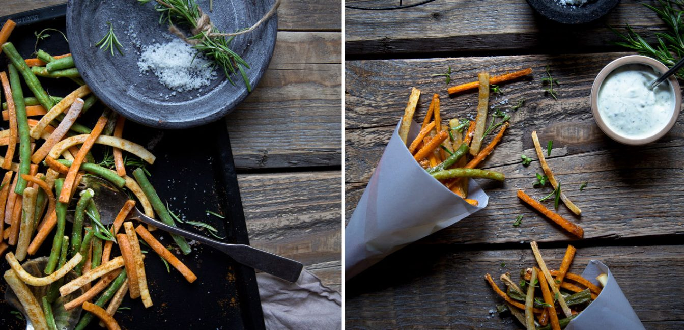 Gesunde Gemüsepommes mit Kräuter Dip.
