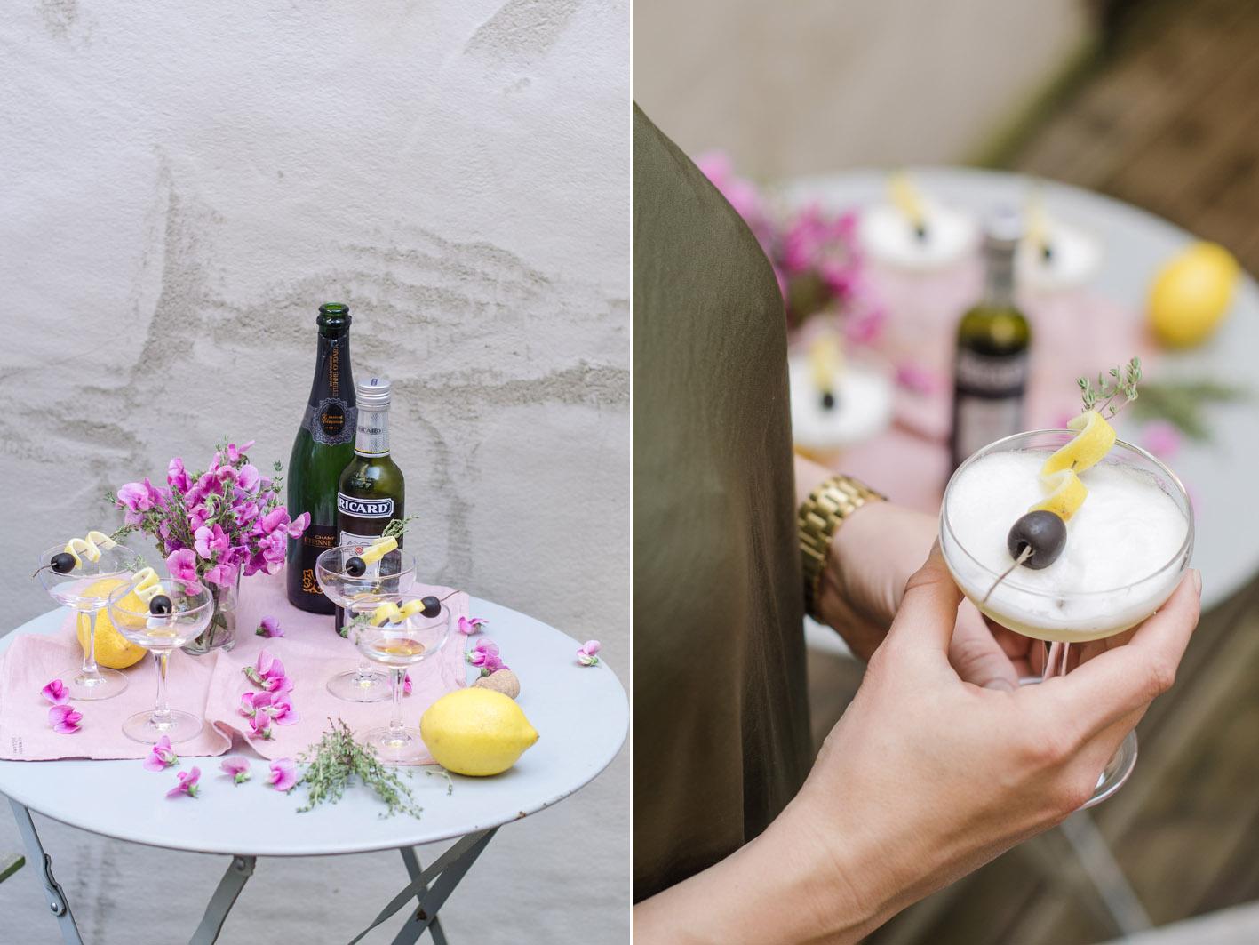 cocktail rezept mit champanger und oliven