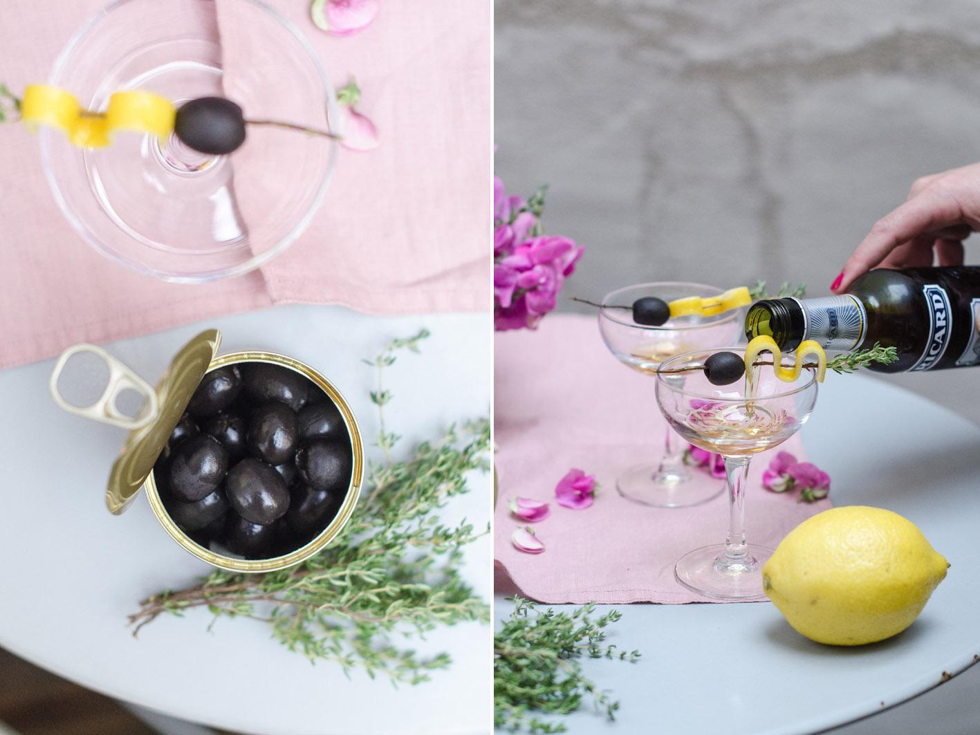 cocktail mit champagner und pastis