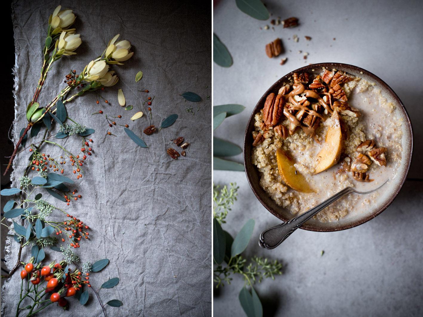 quinoa mit nüssen und birne