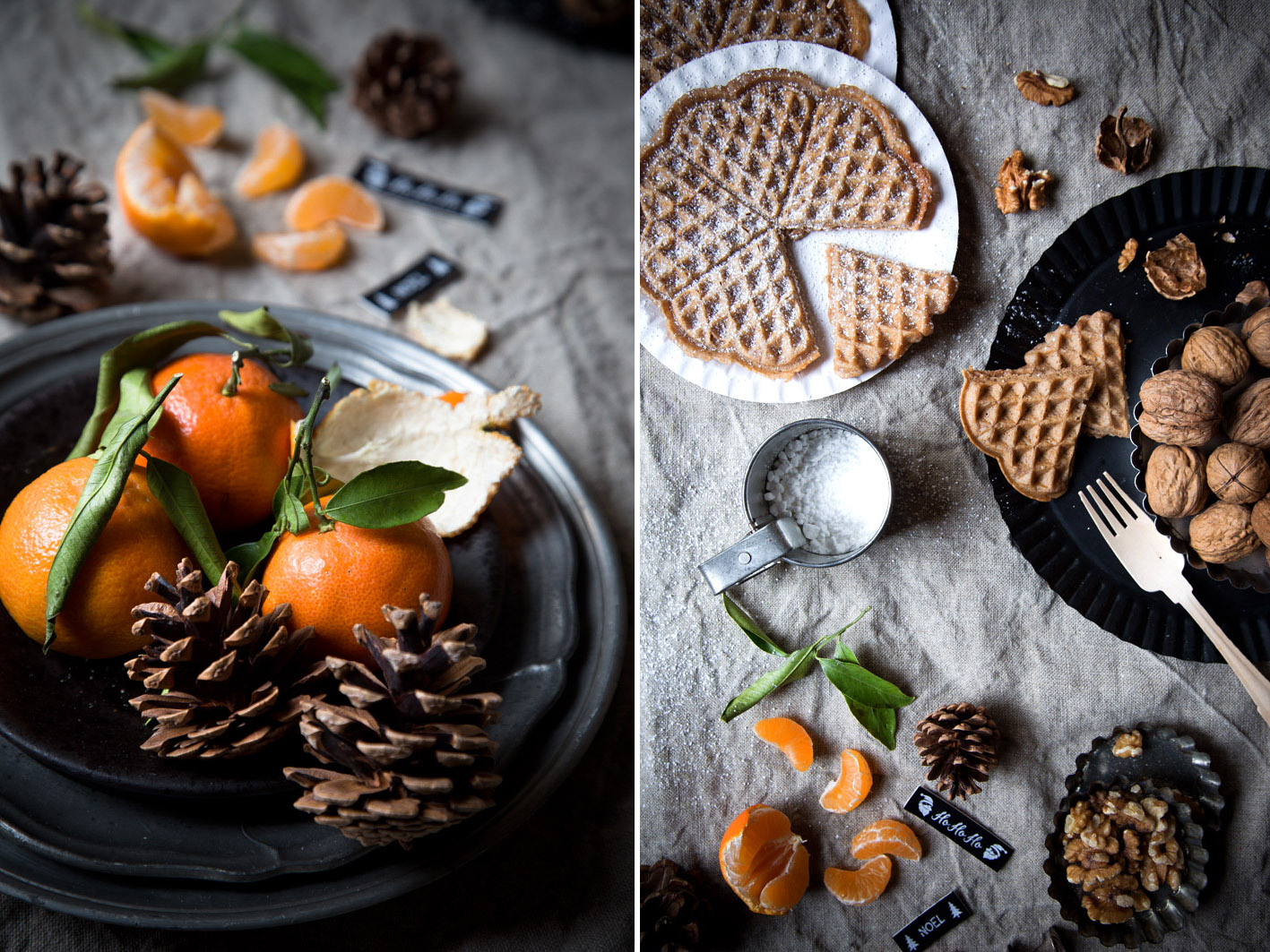 walnuesse und mandarinen