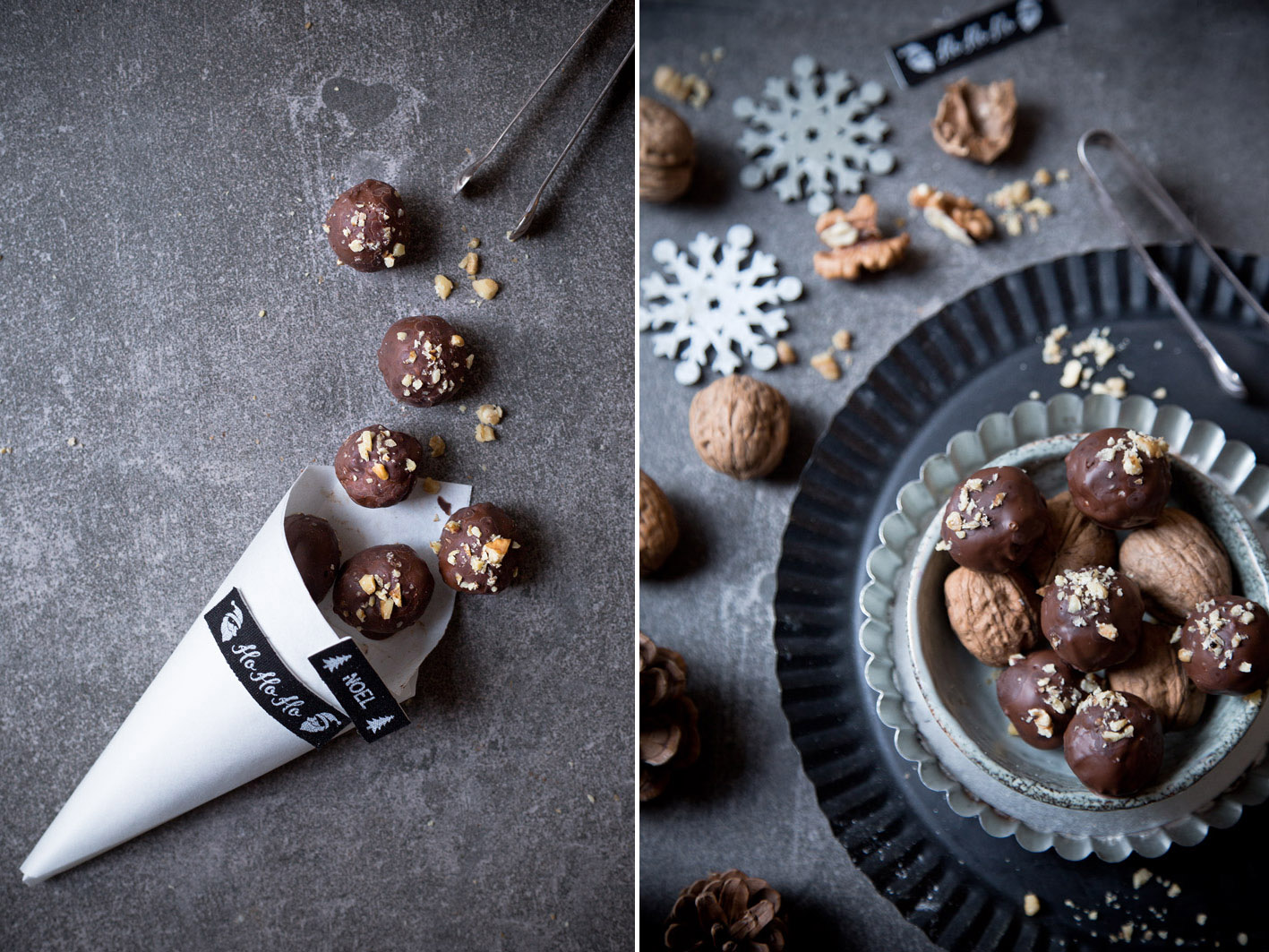 walnusskugeln mit schokolade