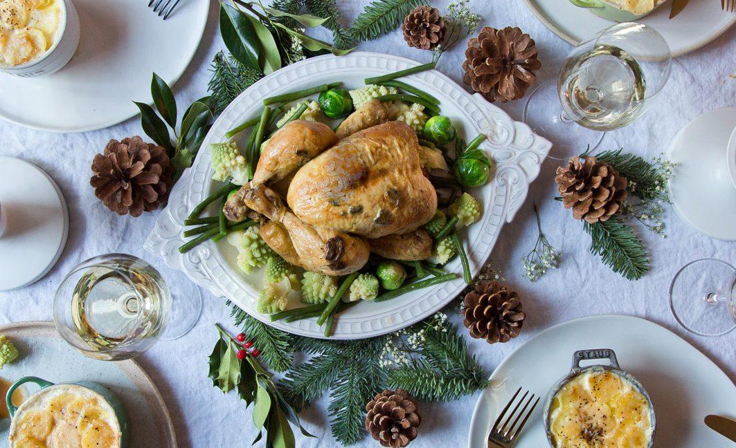 Getrüffeltes Huhn mit Kartoffelgratin.