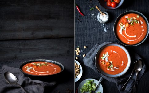 Cremige Tomatensuppe mit Kokosmilch.