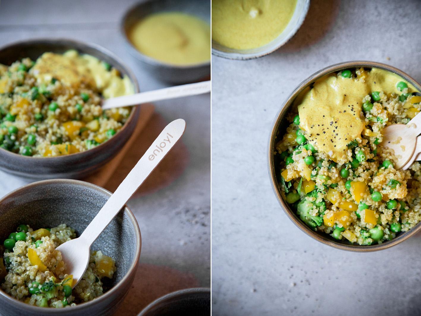 Curry Quinoa Salat mit Erbsen