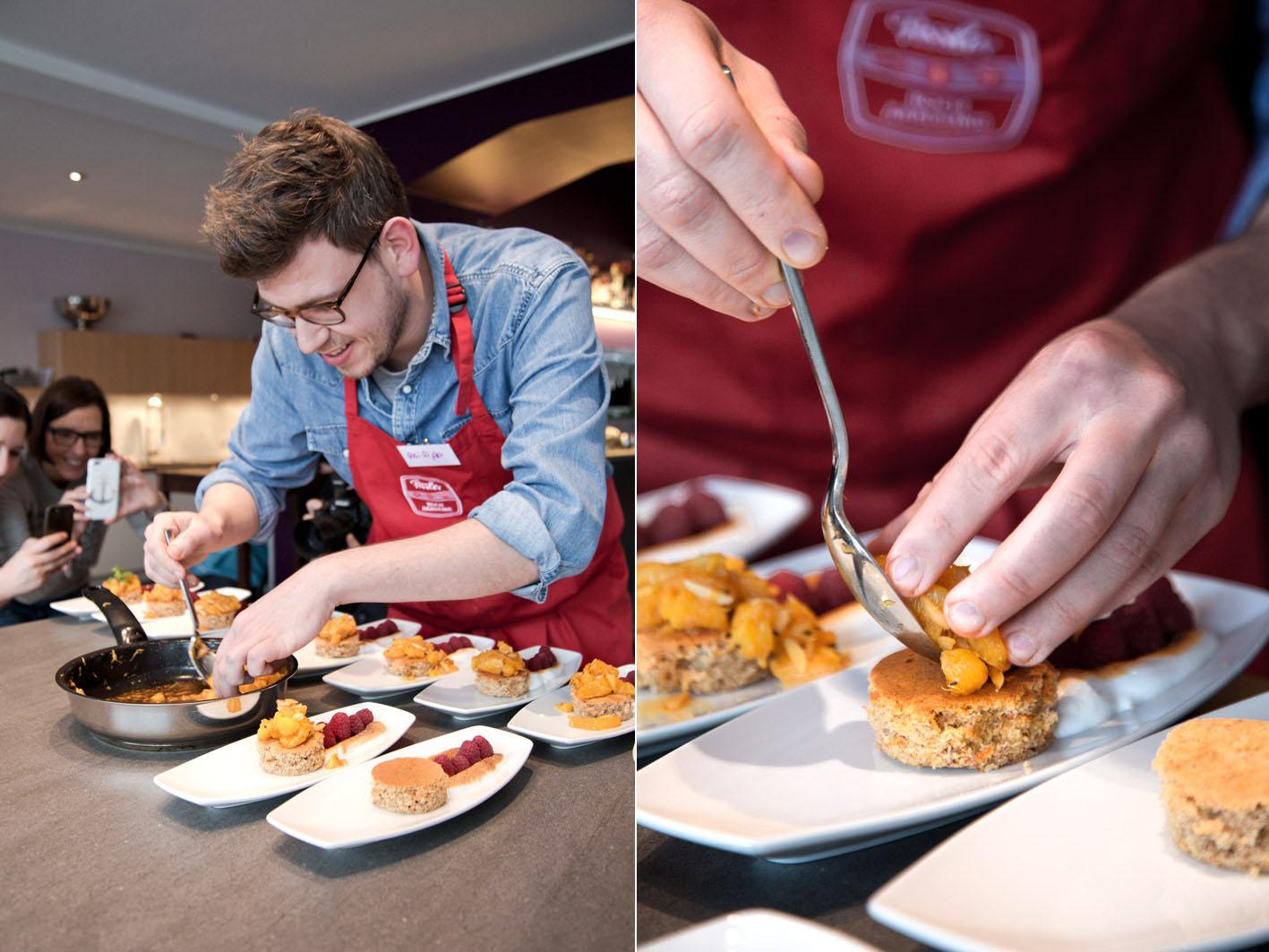 Dessert anrichten in der Fissler-Kochakademie