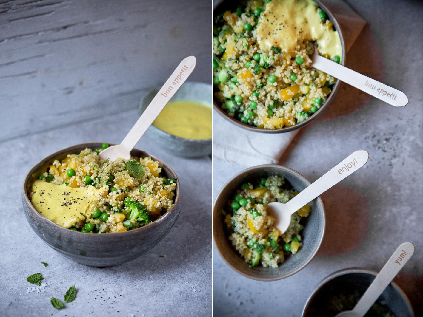 Quinoa Salat mit Curry-Sauce