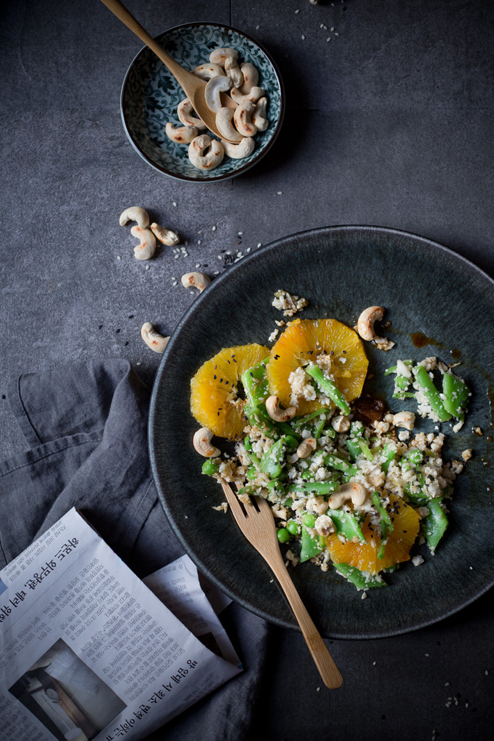 Blumenkohlsalat Asia Style mit Sesam und Orangen