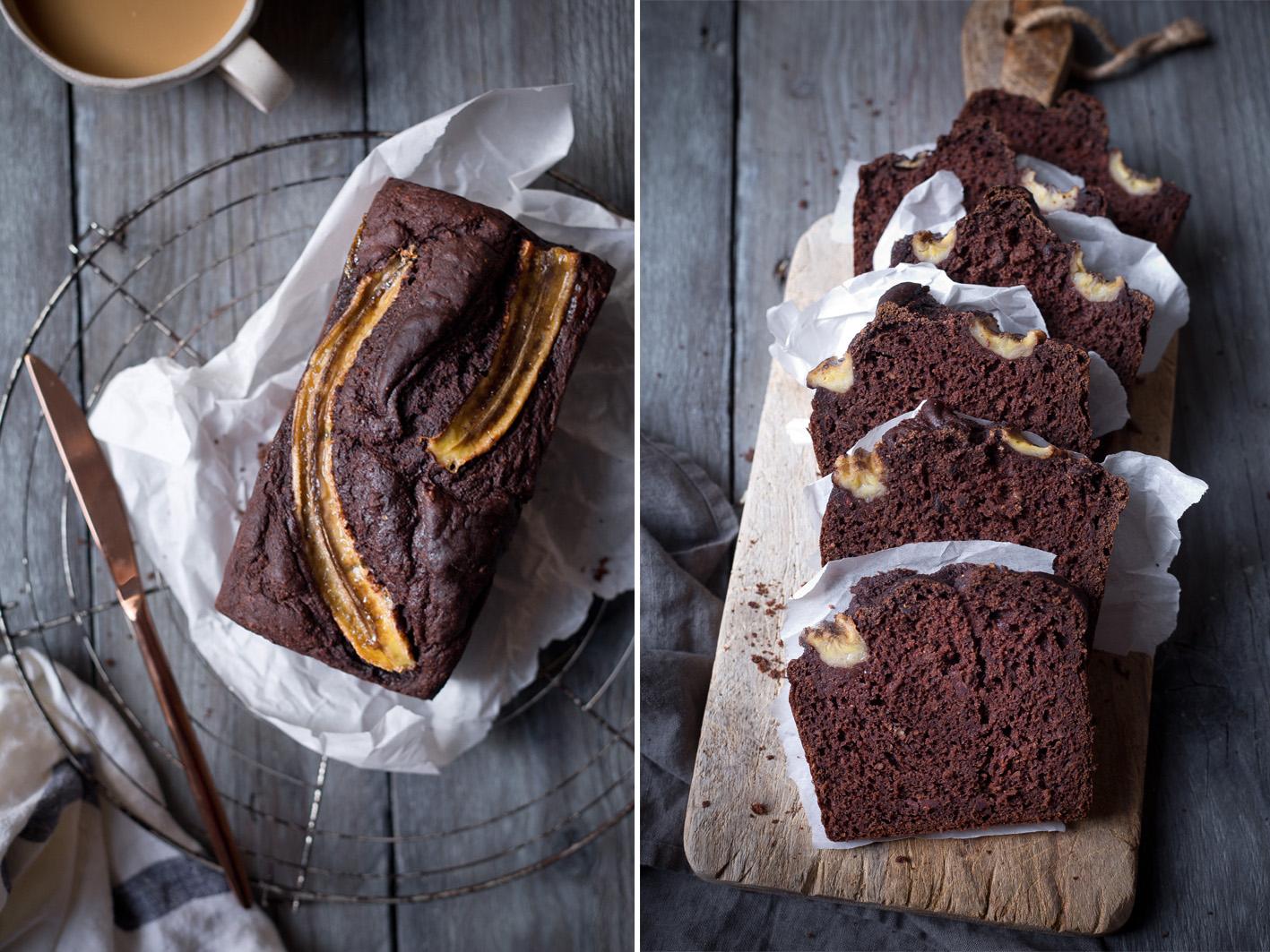 Saftiges Schokoladen Banana Bread aus gesunden Zutaten