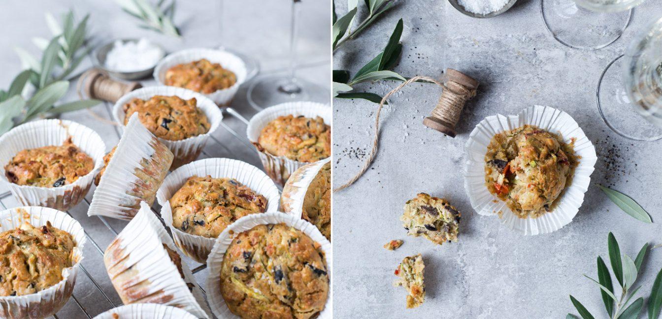 Herzhafte Muffins mit Oliven, Feta und Tomaten.
