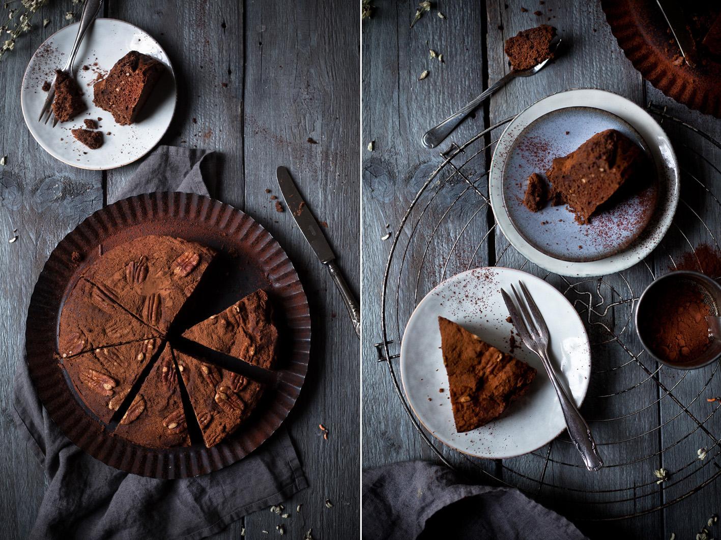 Gesunder Schokoladenkuchen mit Datteln