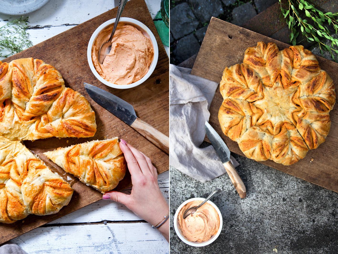 Rezept für Brotblumen zum Grillen