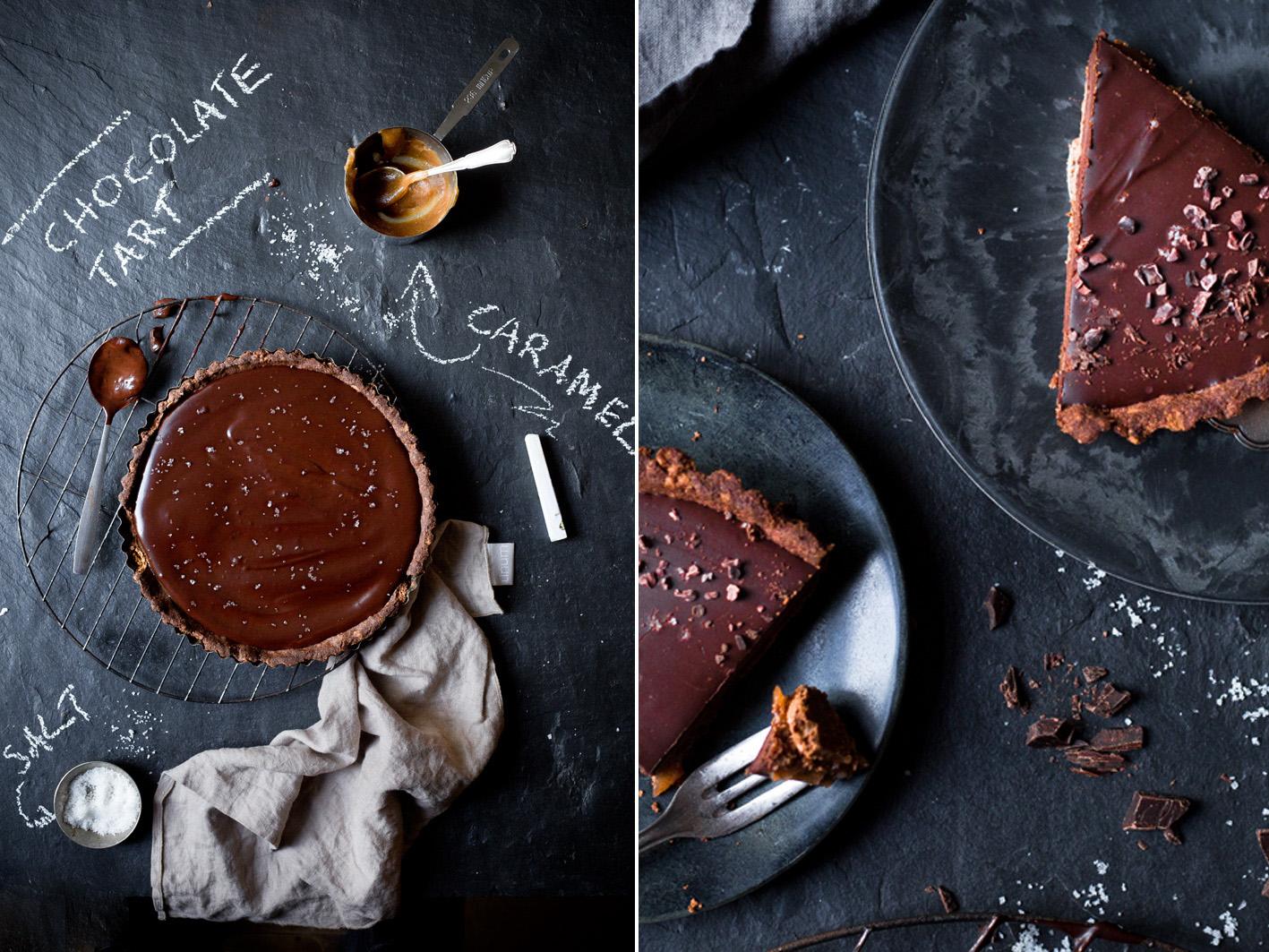 Dekadente Schokoladentarte mit Dattel-Salzkaramell