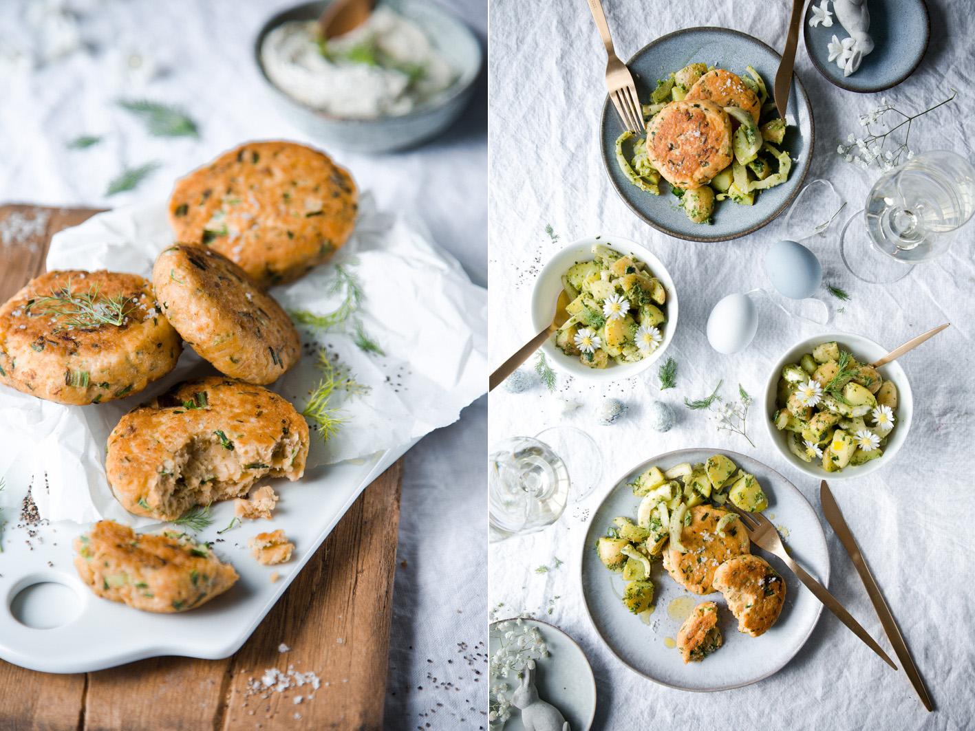 Lachs Frikadellen mit Kartoffelsalat