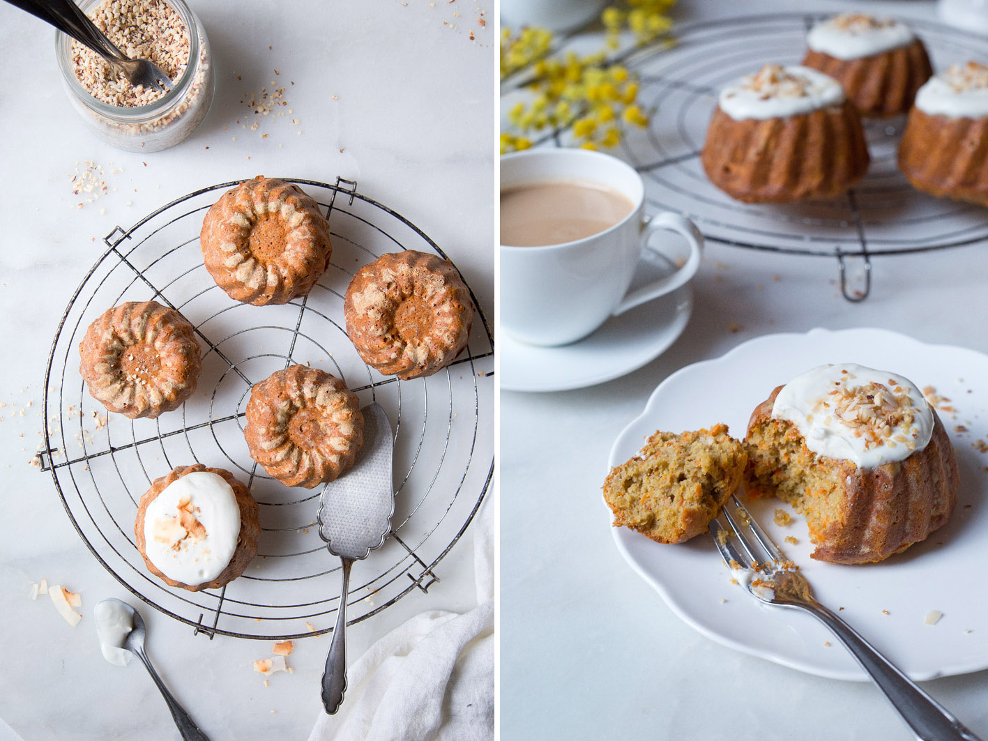 Gesunde Carrot Cakes mit Joghurt Topping