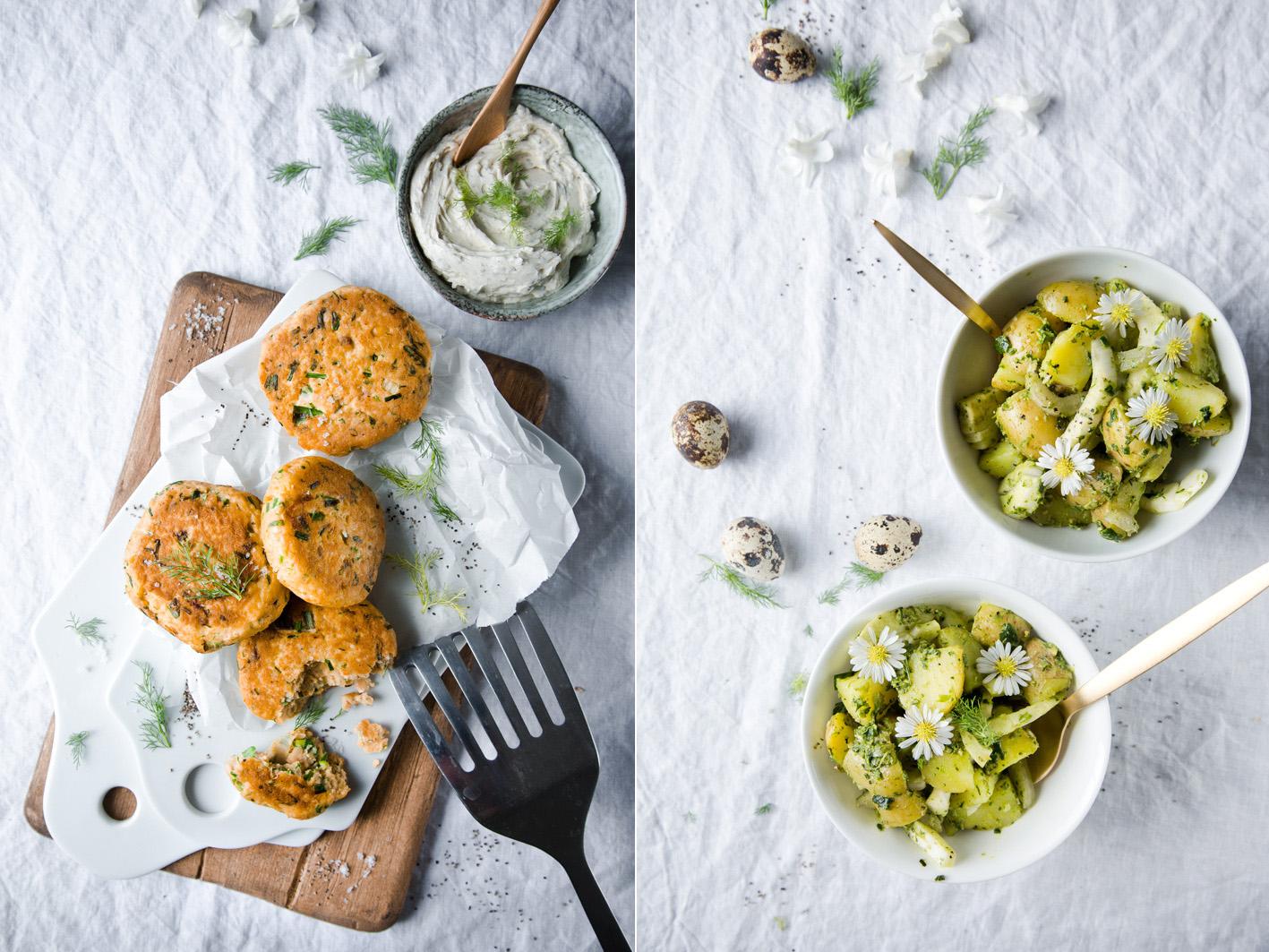 Lachsfrikadellen mit Kartoffelsalat