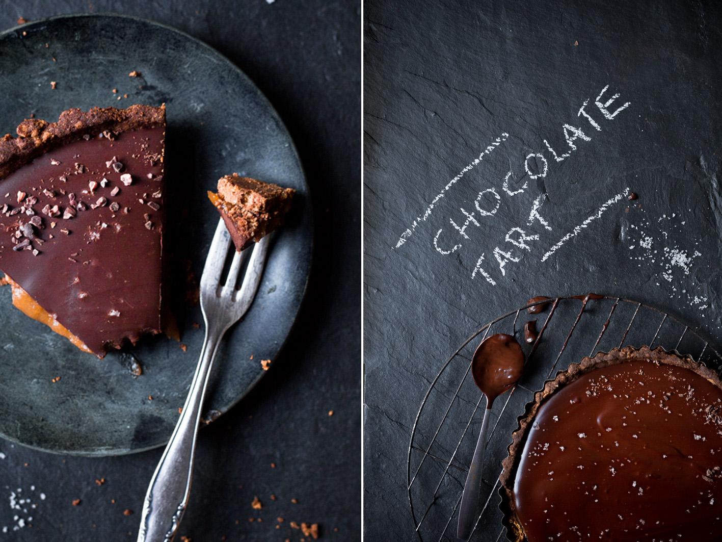 Vegane Schokolaentarte mit Dattelkaramell